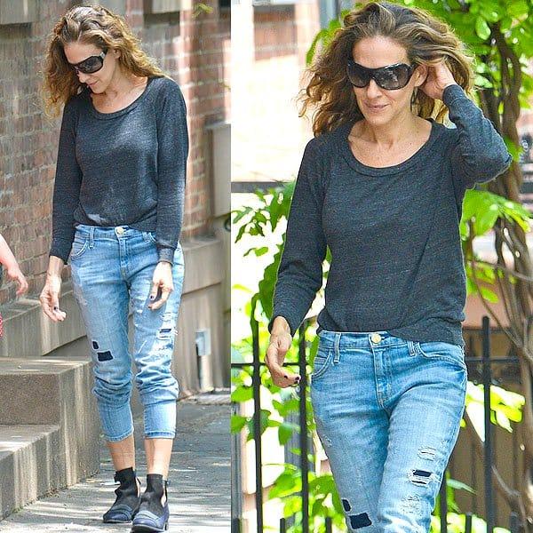 Sarah Jessica Parker Current Elliott The Slouchy Stiletto Jeans 1