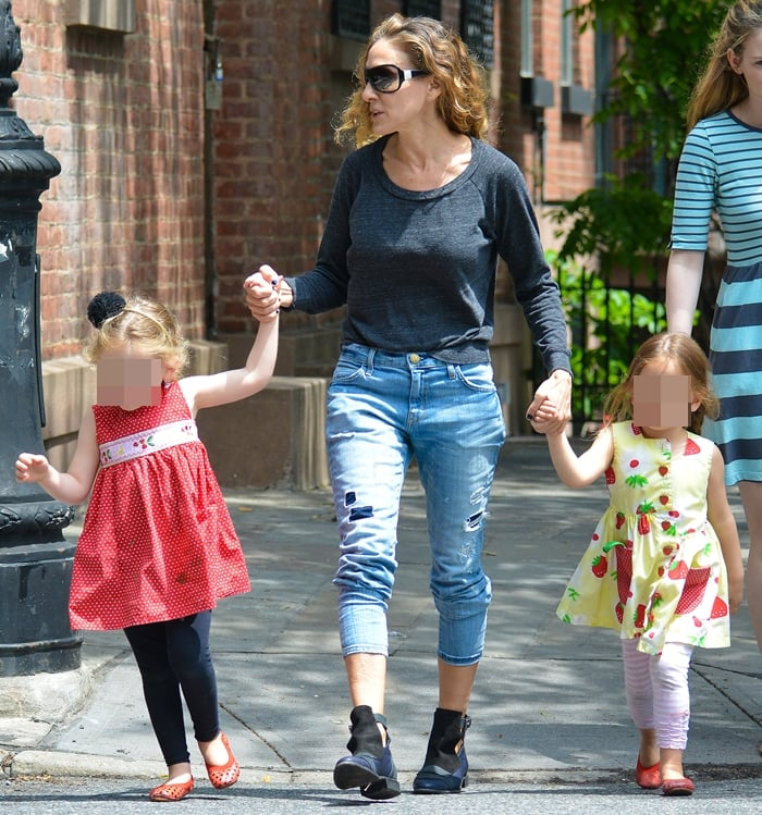 Sarah Jessica Parker out with her twins Marion Broderick and Tabitha Broderick in West Village