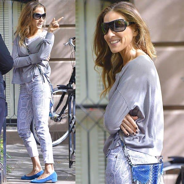 Sarah Jessica Parker crochet print jeans