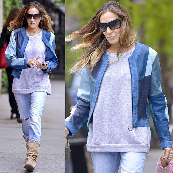 Sarah Jessica Parker leather and denim jacket