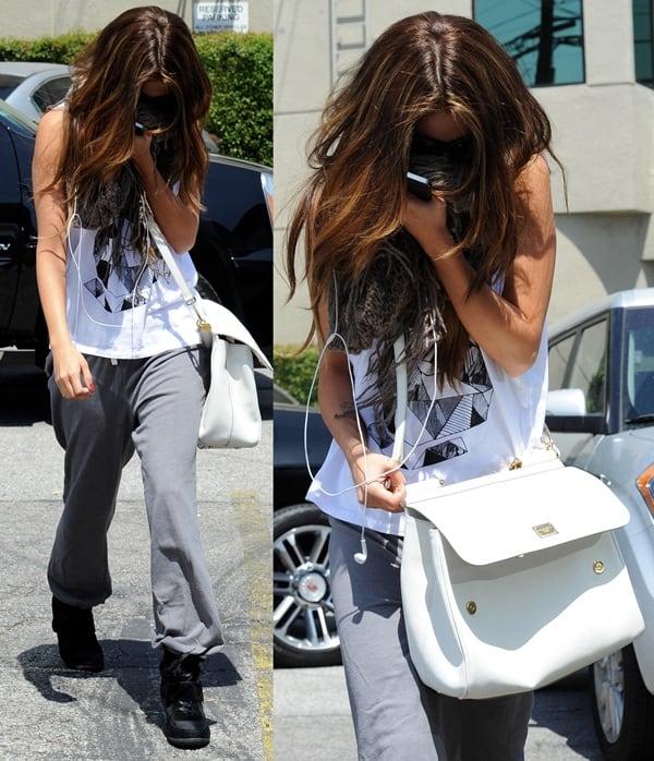 Selena Gomez wears a Stylestalker Geo Bunny tee with sweatpants