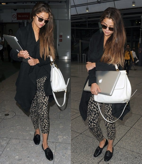 Selena Gomez totes a white Dolce & Gabbana Miss Sicily handbag at Heathrow Airport