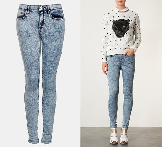 Topshop Moto Leigh Acid Wash Skinny Jeans in blue