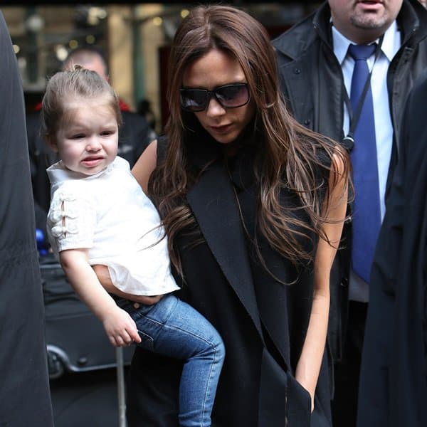 Victoria Beckham and daughter Harper arriving at North Train Station in Paris on May 2, 2013