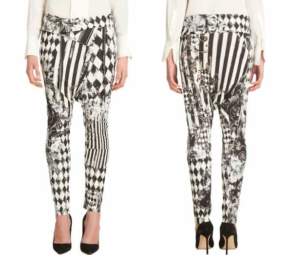 Balmain Diamond Tile Print Harem Pants in Black/White