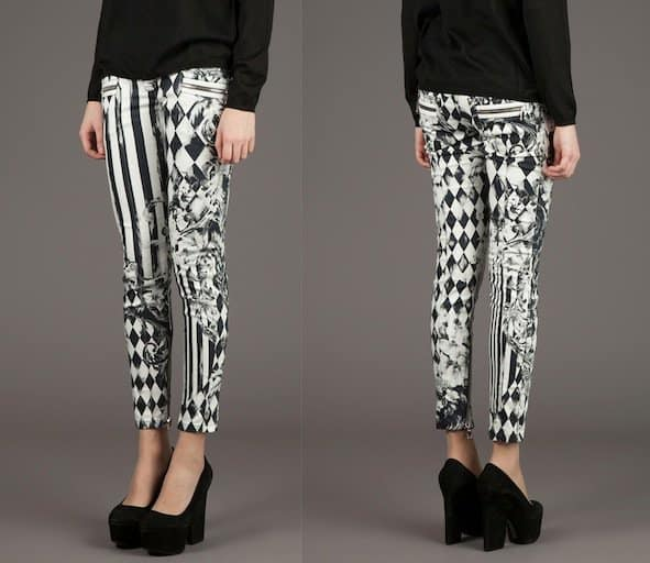 Balmain Diamond Tile Print Skinny Trousers in Black/White