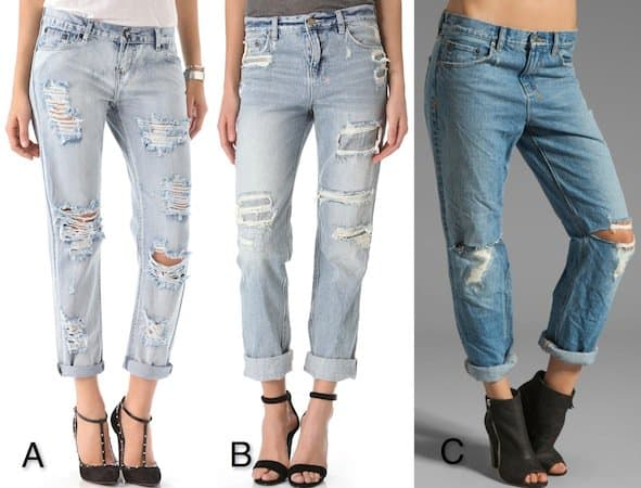 Super shredded and ripped boyfriend jeans