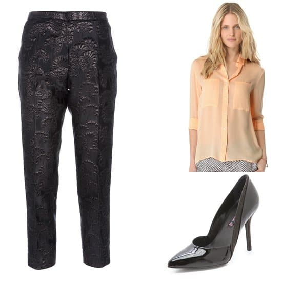 Black pajama pants with blouse and high heels