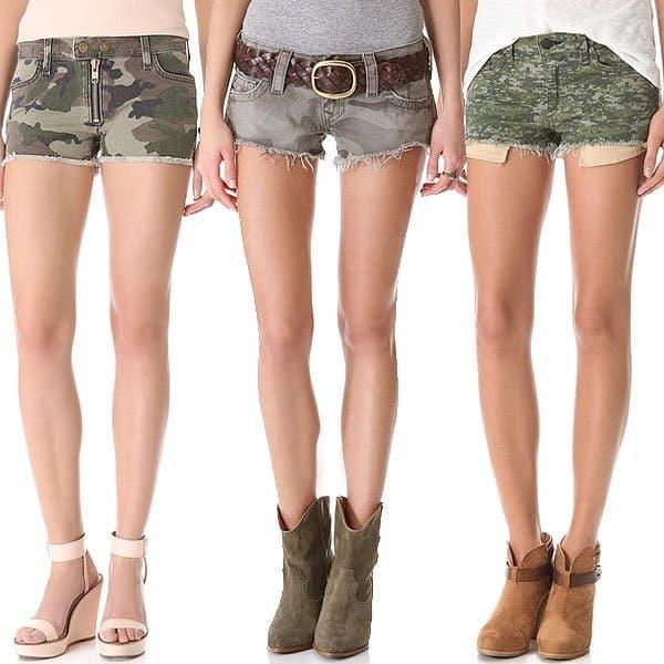 Camo print denim cut off shorts