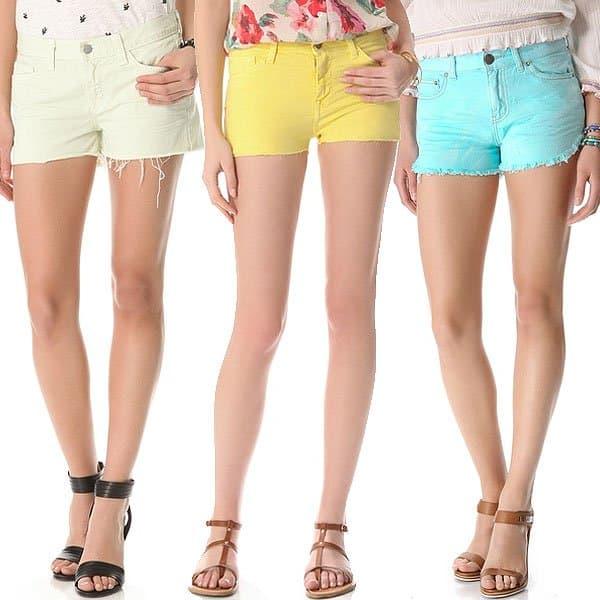 Denim cut off shorts in sorbet colors
