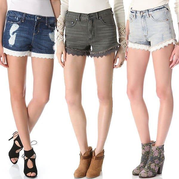 Lace embellished denim cut off shorts