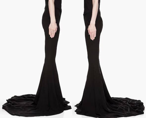 Gareth Pugh Silk Flared Train Runway Trousers in Black