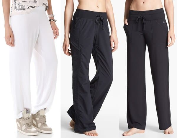 Three white and black women's sweatpants