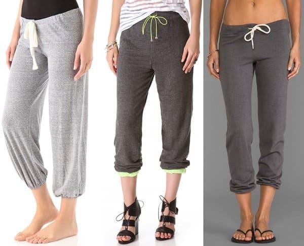 Three grey women's sweatpants