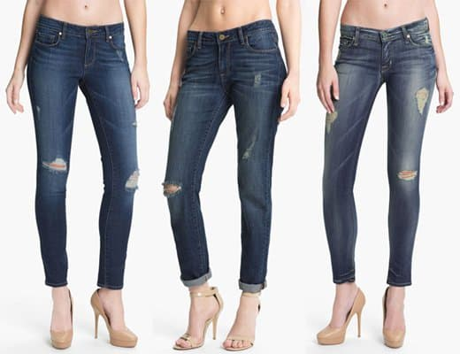Dark-washed women's distressed jeans