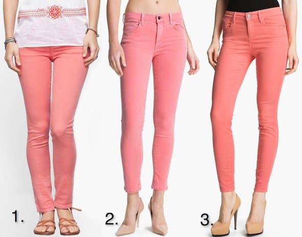 coral-hued skinny jeans