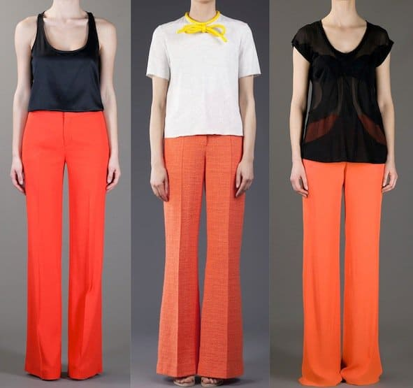 Orange flare pants