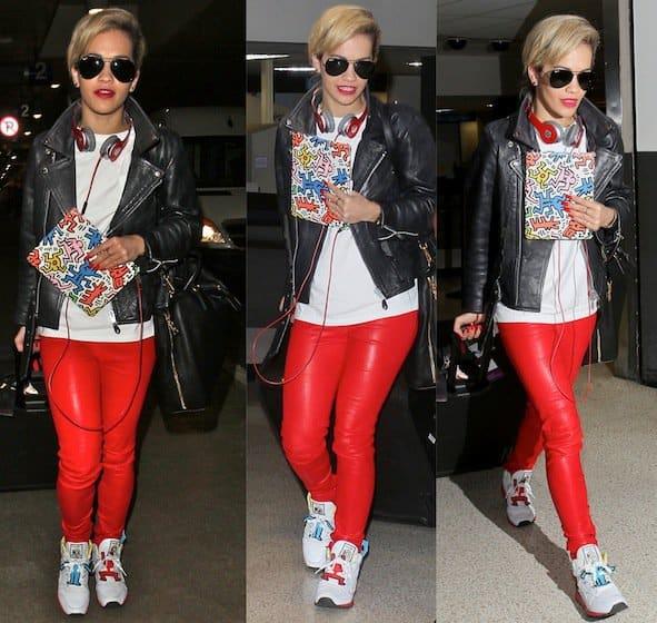 Rita Ora wearing hot red leather pants