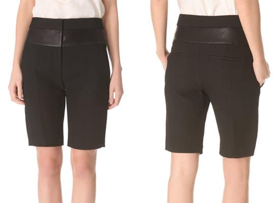 A soft leather band trims the waist of these high-waisted shorts