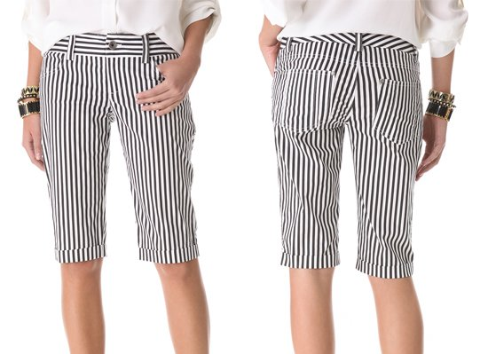 Slim stripes pattern a pair of long and lean 5-pocket shorts featuring a wide, contrast waistband that offers a smooth and flattering fit