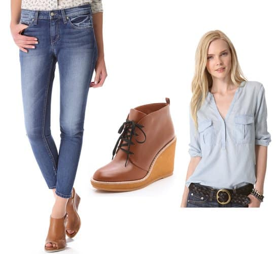Skinny ankle jeans with booties and shirt