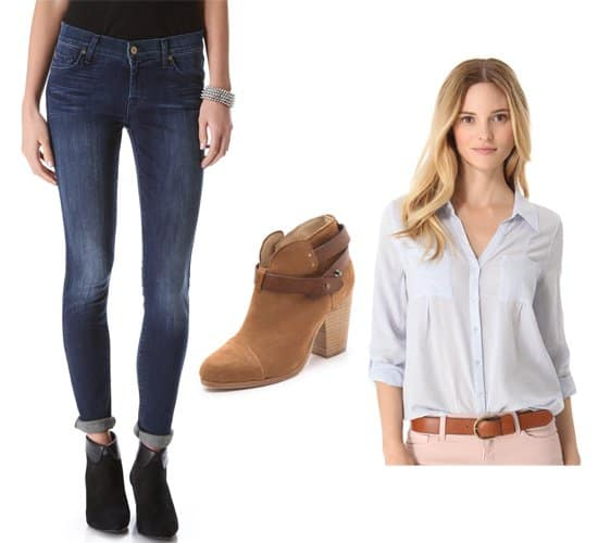 7 for All Mankind The Skinny jeans with blue shirt and booties