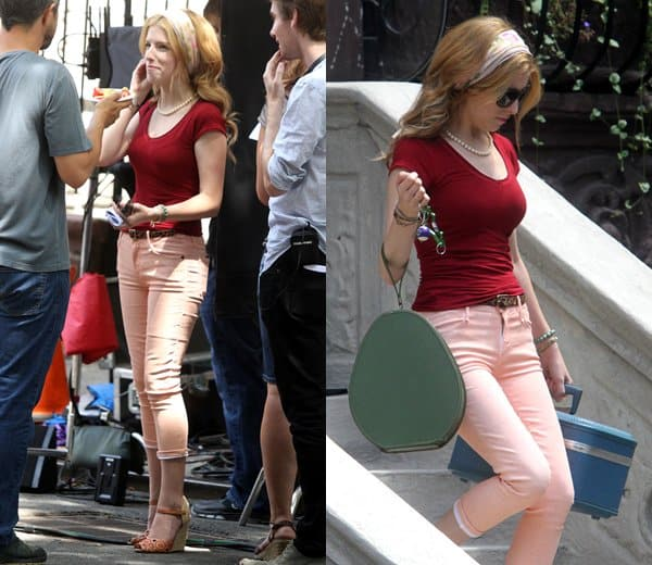 Anna Kendricks Peach-Colored Jeans Outfit