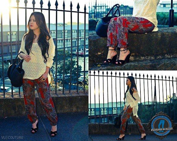Anna's palm-print harem pants and slouchy asymmetrical crochet top