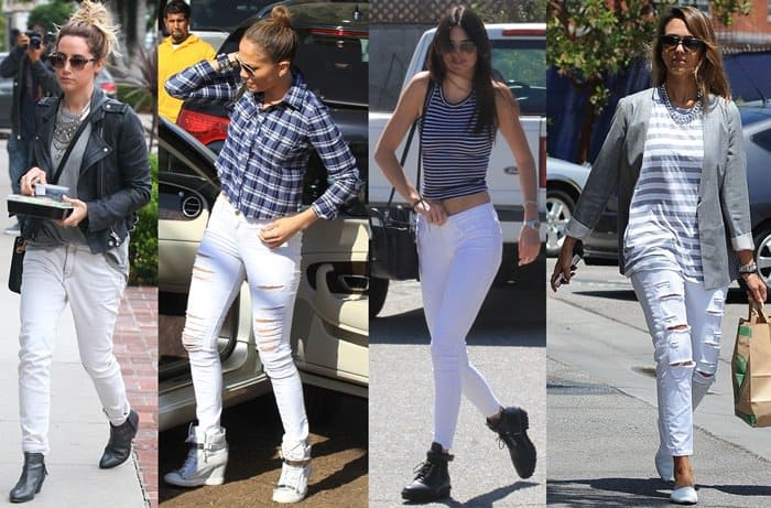 Celebrities in White Jeans