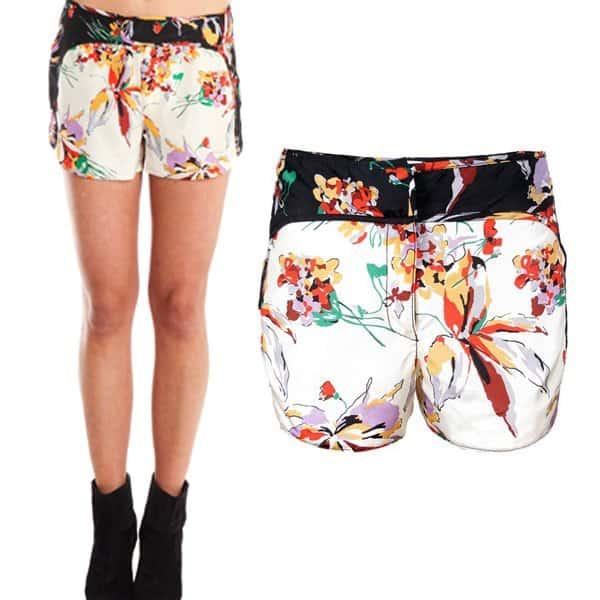 Derek Lam Floral Print Silk Sain Shorts
