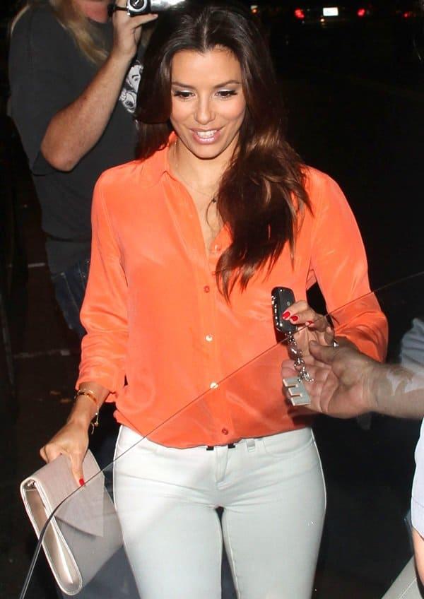 Eva Longoria spotted leaving BESO Restaurant in Hollywood on June 28, 2013