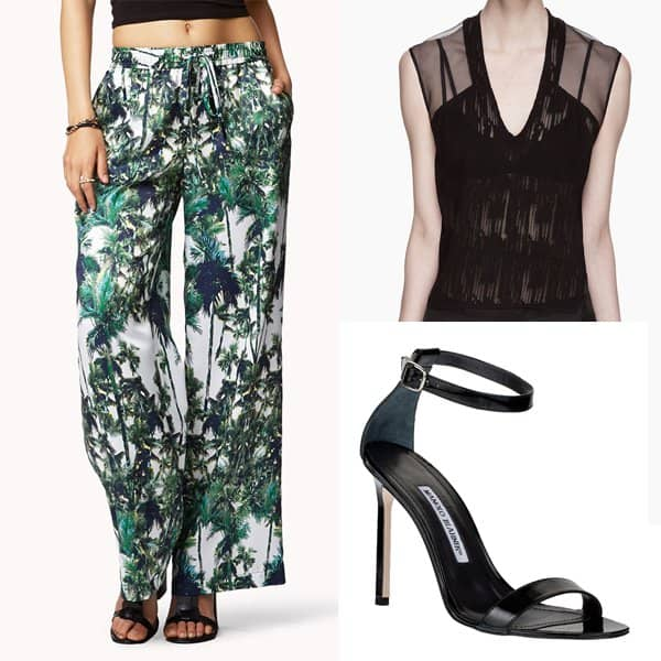 Outfit with palm-print wide-leg pants