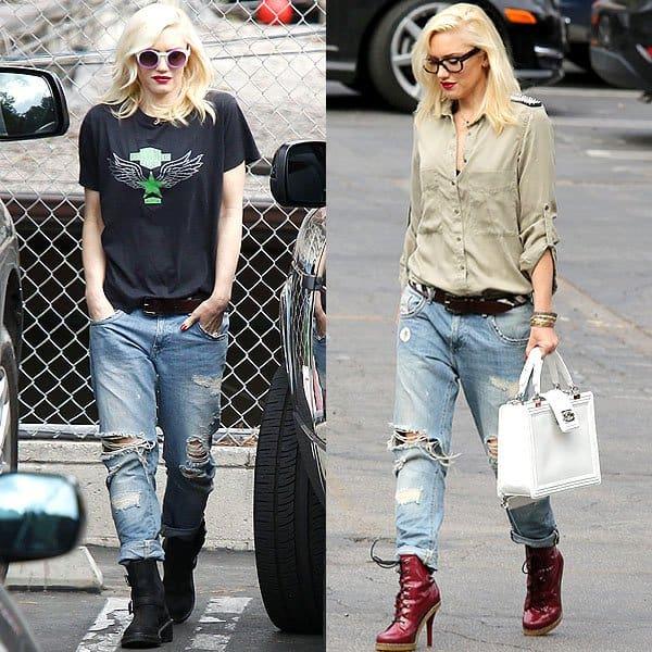 Gwen Stefani wearing boyfriend jeans