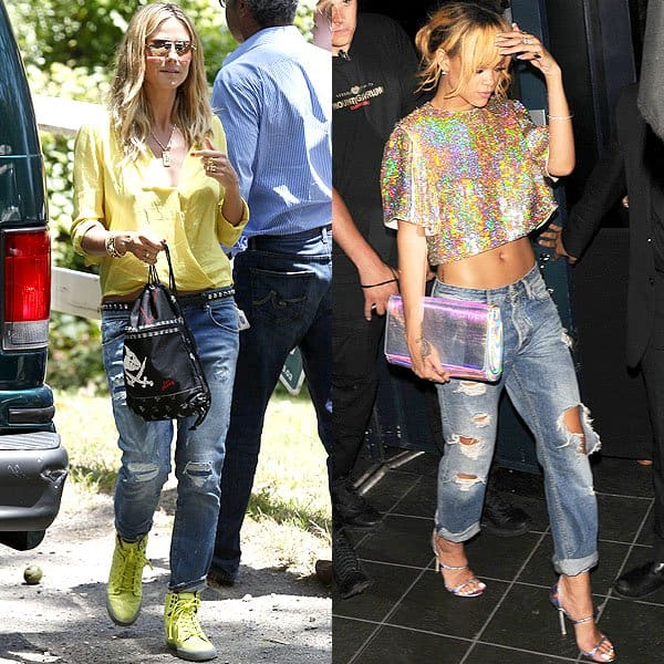 Heidi Klum and Rihanna wearing boyfriend jeans