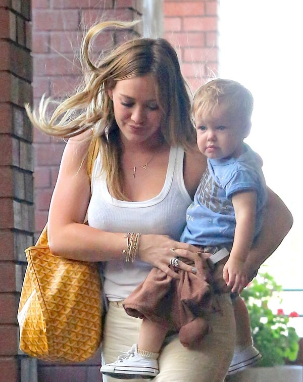 Hilary Duff seen out and about with her son, Luca Comrie, in Brentwood, Los Angeles on May 29, 2013