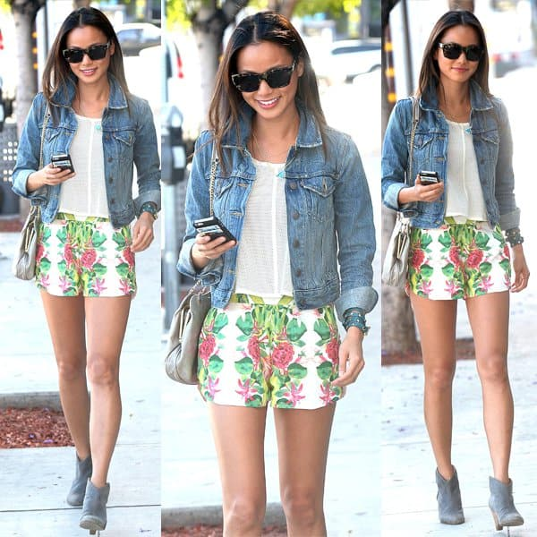 Jamie Chung visiting the Palihouse Courtyard Brasserie in West Hollywood