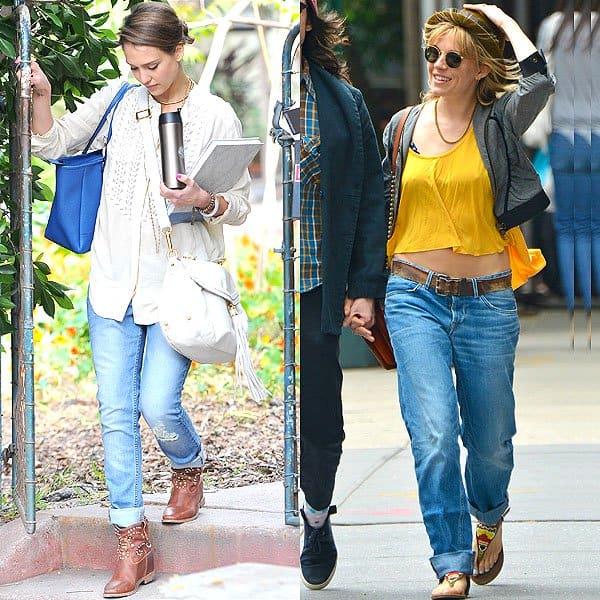 Jessica Alba and Sienna Miller wearing boyfriend jeans