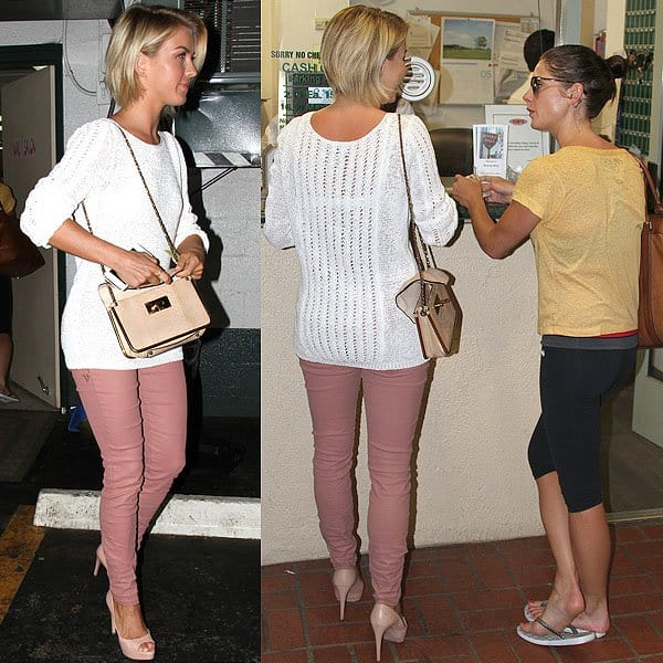 Julianne Hough and Ashley Greene paying for valet parking in Beverly Hills, Los Angeles on May 28, 2013