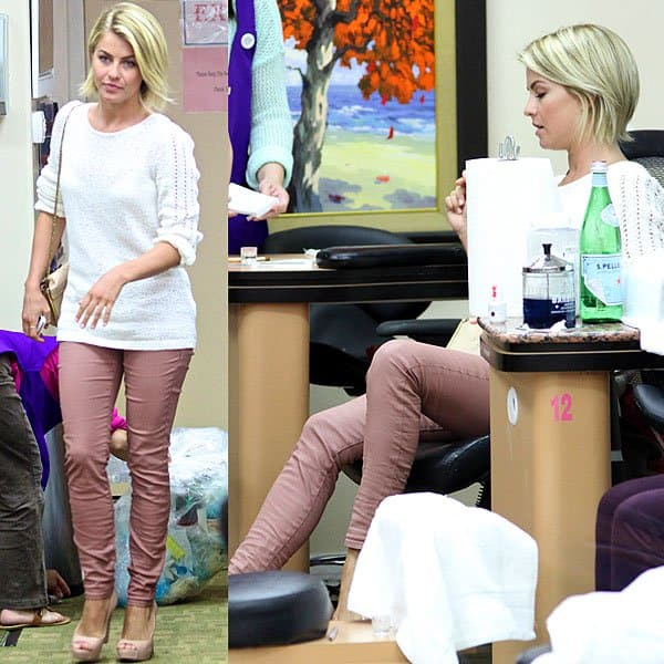 Julianne Hough enjoying a manicure and pedicure session at Beverly Hills Nails Salon in Los Angeles on May 28, 2013