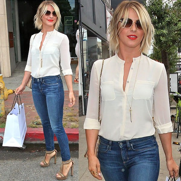 Julianne Hough leaving the Paper Denim & Cloth and Baby2Baby Luncheon held at Son of a Gun restaurant