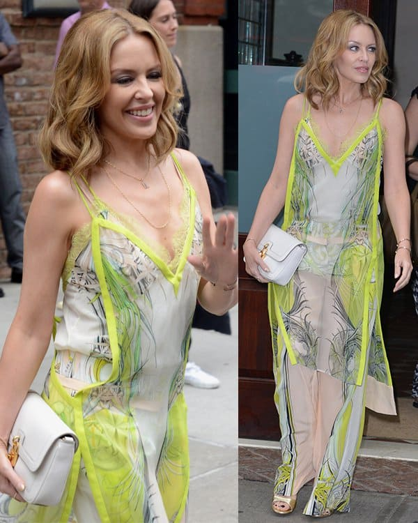 Kylie Minogue wearing a silk chiffon Roberto Cavalli printed dress layered over a pair of silk Cavalli pants