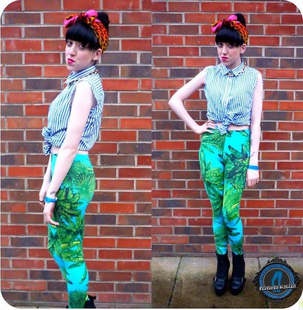 Leanne's striped tie-front top and jeans printed with bright green leaves