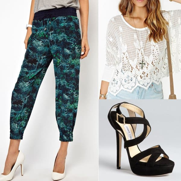 Outfit with palm-print silk joggers