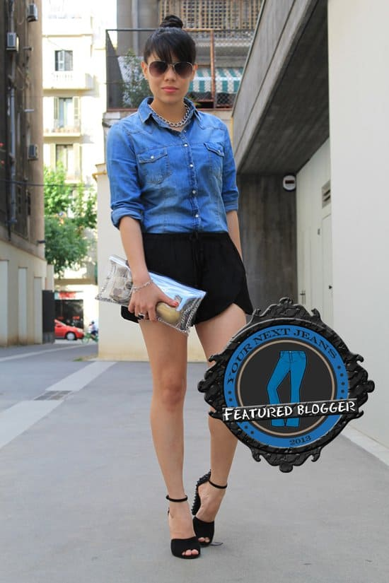 Mayita paired her black shorts with a denim button-down top