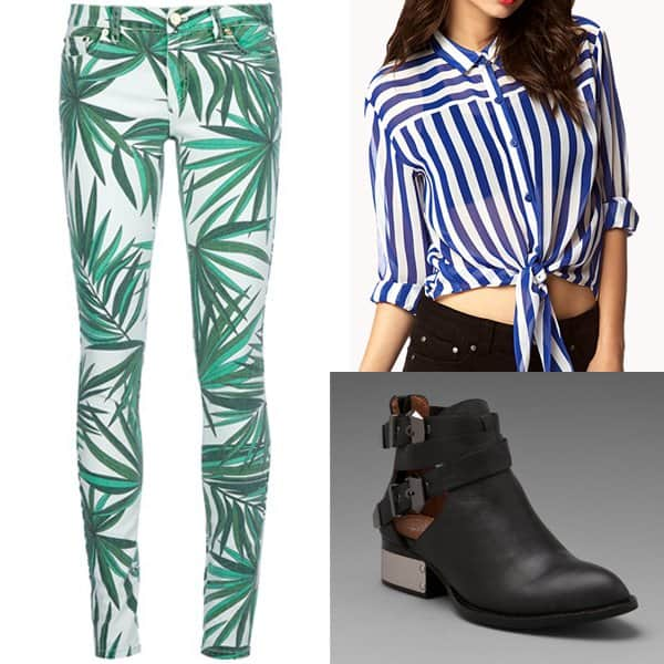 Outfit with green leaf pants