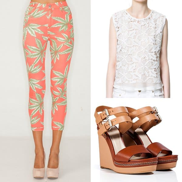 Outfit with pink palm leaf print pants