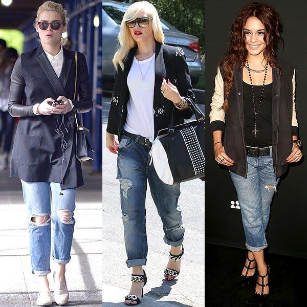 Rachael Taylor, Gwen Stefani, and Vanessa Hudgens wearing boyfriend jeans