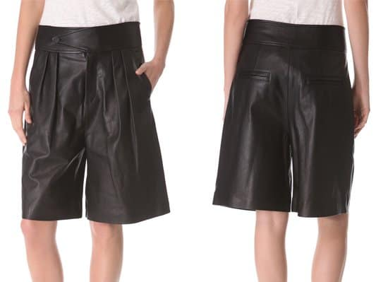 Rag & Bone puts a bold twist on shorts, cutting this oversized pair from soft leather and finishing the silhouette with structured knife pleats at the front