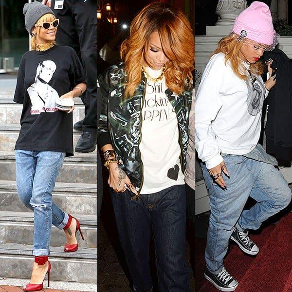 Rihanna wearing boyfriend jeans