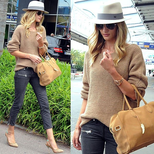 Rosie Huntington-Whiteley arriving at Nice Airport in France on June 8, 2013